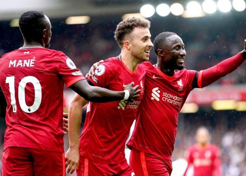 Sadio Mane Diogo Jota et Naby Keita lors de Liverpool Burnley 1088110 - Onze d'Afrik - L'actualité du football